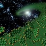 Komplexe Kohlenwasserstoffe im Weltraum. Künstlerische Darstellung.