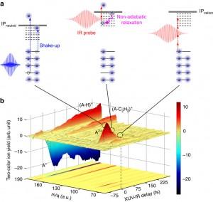 Schematische Darstellung der XUV-induzierte Dynamik in PAH-Molekülen.