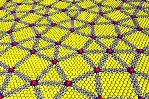 Quasikristallines Netzwerk aus mit para-Quaterphenyl–Dicarbonitril vernetzten Europium-Atomen auf einer Gold-Oberfläche (gelb) | Foto: Carlos A. Palma / TUM