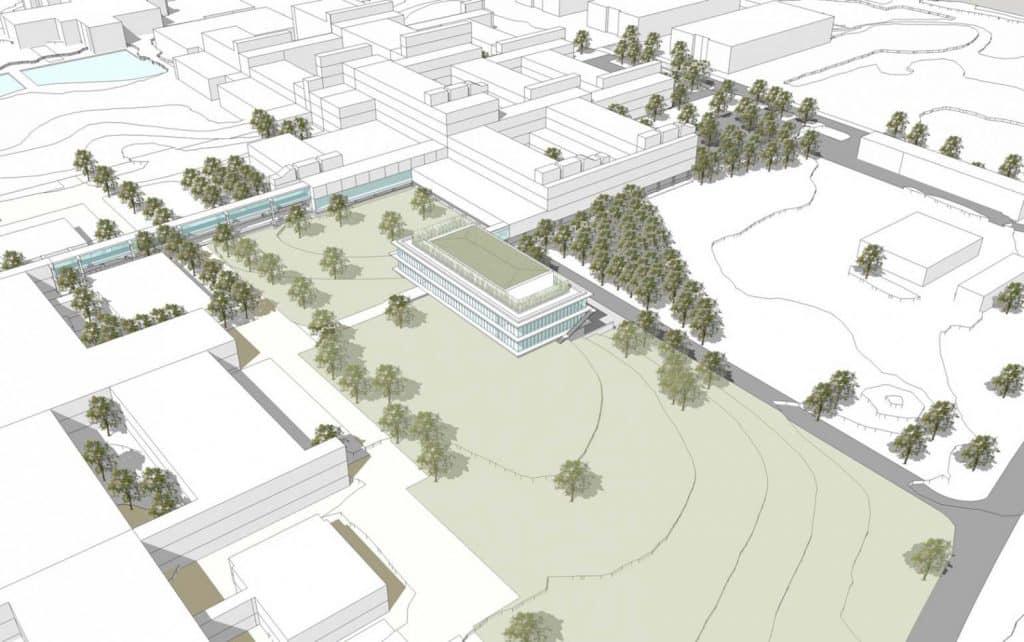 Entwurfsansicht des RUN-Forschungsbaus zur Erforschung von Nanoskopie am Campus der Universität Regensburg | Grafik: Fritsch + Tschaidse Architekten GmbH