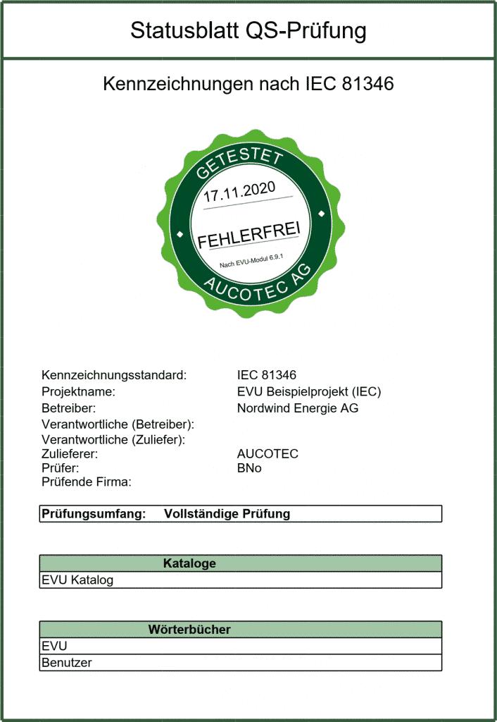 Engineering Base: Prüfblatt mit grünem Siegel | Quelle: Aucotec