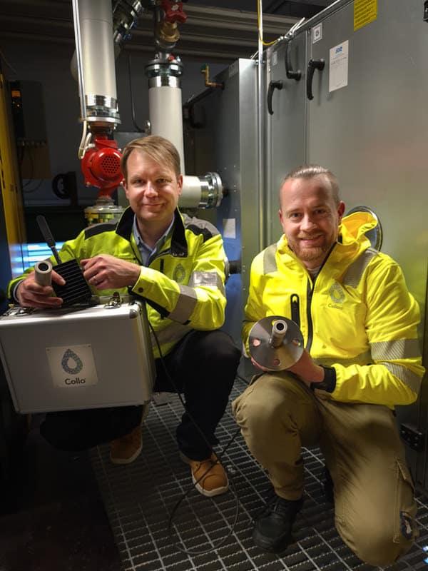 Matti Järveläinen (links), CEO und Gründer von Collo und Mikko Tielinen, Head of Sales, stellen die wichtigsten Teile des Collo Analyzer vor.   Foto: Setareh Zakeri