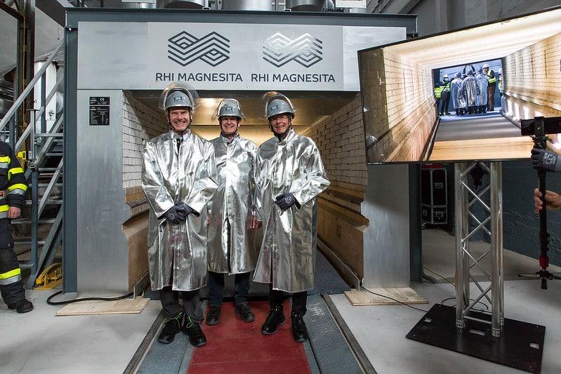 RHIM Dr. Herbert Cordt, Werksleiter Heimo Wagner Dr. Peter Kaiser bei der Einweihung des neuen Tunnelofens | Foto: RHI Magnesita/Gleiss