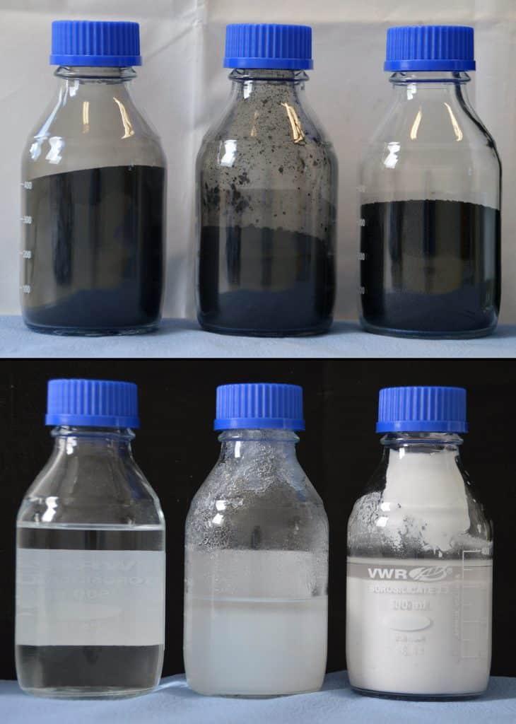 """Recoverd Carbon Black - Oben, Primärprodukt von links nach rechts: Roh-rCB, Clean rCB (96+), perliertes Clean rCB (96+).  Unten, gewonnene Sekundärprodukte aus der Asche von links nach rechts: """"Wasserglas"""", gefälltes SiO2, gefälltes ZnSO4.   Foto: Fraunhofer IBP"""